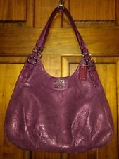Coach Madison Stitched Leather Purple Maggie Bag 18766