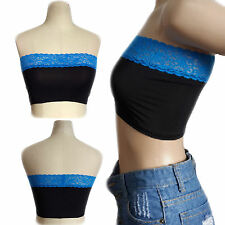 NEW Women Blue Lace BLACK Polyester Body Casual Summer Short Tunic Crop Top 3XL