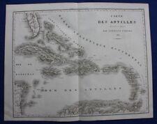 Antique atlas map, ANTILLES, CUBA, JAMAICA, BAHAMAS, FLORIDA, Tardieu, 1822