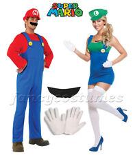 2PCs Couple Womens Super Mario Luigi and Mens Mario Plumber Fancy Dress Costumes