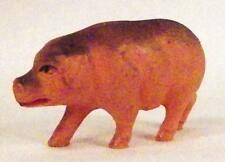 Vintage Pig Celluloid Toy Christmas Putz Decoration Peach Gray Made USA Small