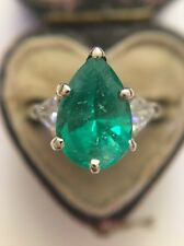 Antique Stunning 18ct White Gold Pear Emerald Diamond Trillion Shoulders Ring