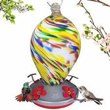 Hand Blown Glass Hummingbird Feeder 28 oz for Home Nectar Food Backyard Garden