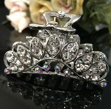 HOT Beautiful Silver Tone Hair Jaw Flower Rhinestone Crystal clear Color 4117