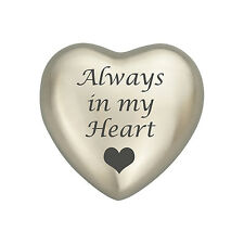 Always In My Heart Silver Coloured Heart Urn Keepsake for Ashes Cremation