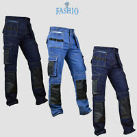 Men Cordura Knee Reinforcement pants Denim Utility Work wear Trouser