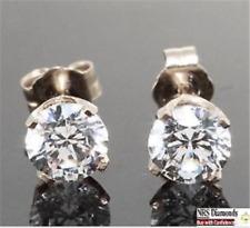 3ct VS Genuine Moissanite 14K White Gold Earrings Studs SPARKLY Free Shipping