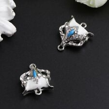2Pcs/Set 22x18mm Magnetic Clasps Fox Shape Silver Rhinestone Jewelry Accessories