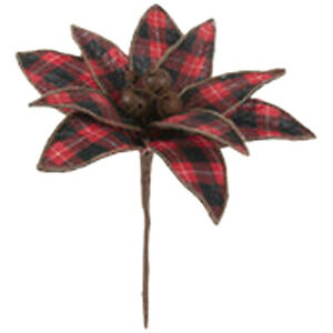 Red Buffalo Plaid Poinsettia Floral Pick Christmas Country Rusty Bells Wreath R0
