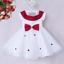 Flower Girl Dress Toddler Kids Bow Tulle Wedding Formal Bridesmaid Communion