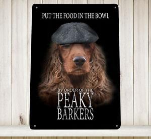 Peaky Barkers Spaniel dog - blinders A4 Print Metal Sign