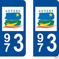 stickers autocollants plaques immatriculation auto Département Guyane 973