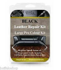 BLACK - Large Pro Leather Furniture Repair Kit - Holes, Rips, Scuffs, Worn Areas