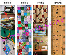 3 Set-SEWING QUILTING BOOKMARKS Ruler-FUN ART QUILT Quilter Fabric Vintage Look