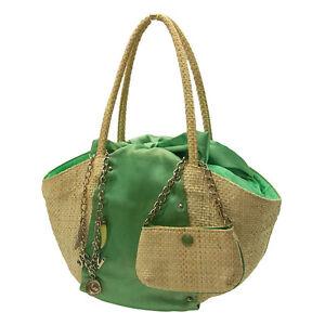 Samantha Vega Tote bag Logo Beige Green Woman Authentic Used F564