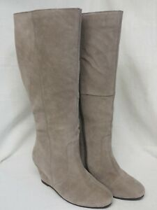 Legroom JD Williams Taupe / Grey Suede Wedge Knee High Boots Size 7DD Extra Wide