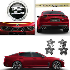 "New OEM Front E logo Rear Emblem+19"" Center Wheel Cap Set for Kia Stinger 17-18"