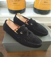 $649 Jimmy Choo Eaton Moccasin Shoes Ford Loafers Driver Louis Suede Black Saint