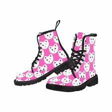 Pink Cats Lace Up Combat Boots