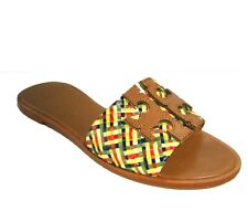Tory Burch Ines Woven Slide Sandals Tan Multi Size 9M
