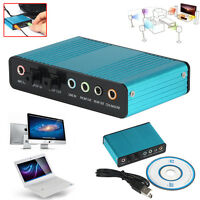 USB 5.1 Channel External Optical Audio Fiber Sound Card S/PDIF for Laptop PC New
