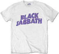 BLACK SABBATH Classic Wavey Band Logo Master Of Reality WHITE T-SHIRT OFFICIAL