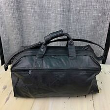 """LEATHER DUFFLE - Black Gym Bag Carry-on Luggage, 20"""" x 9.5"""" x 9.5"""" - MUST SEE!"""