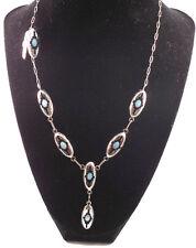 Zuni Handmade Blue Opal Choker Set In Sterling With Earrings