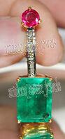 0.45ct ROSE CUT DIAMOND EMERALD  RUBY 925 STERLING ANNIVERSARY SILVER PENDANT
