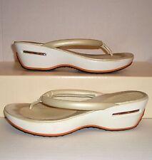 COLE HAAN Nike Air G-Series Women's Pearl Leather Wedge Dress Thongs Sandals 8 B