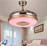 """36""""/42"""" Invisible LED 7Color Ceiling Fan Light Bluetooth Music Player Chandelier"""