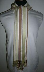 Margaret Howell Silk Scarf Brown Green Beige Black Stripe