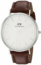 Daniel Wellington St Mawes White Dial SS Brown Leather Quartz Mens Watch 0207DW