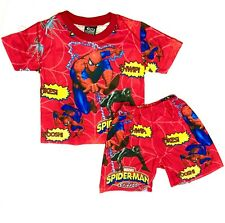 NEW SZ 3-8 SPIDERMAN NIGHTIE GIFT BOYS PYJAMAS PJ KIDS SUMMER SLEEPWEAR TOP TEE