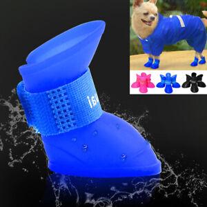 4pcs Puppy Pet Dog Rain Shoes Boots Small Medium Waterproof Rubber Dog Boots