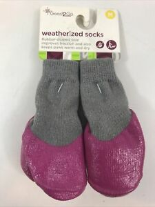 Good2Go Weatherized Socks - Rubber Dipped Sole Keeps Paws Warm & Dry -  Medium