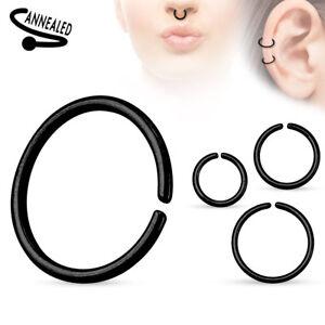 Fake Cartilage Tragus Septum Nose Hoop Ring C Shaped Titanium Annealed