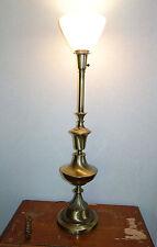 "Vintage Rembrandt Torchiere Brass Lamp Torch Milk Glass Shade 36"" Tall"
