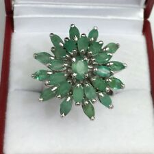 Solid .925 Silver Big Cluster Flower Ring, Natural Emerald. Size 8. 8.28 Grams