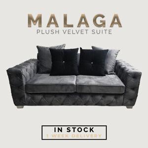 New Malaga Fabric Premium Plush Sofa Set With Pillows 3+2 Sale Couch *Sale* UK