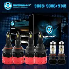 9005+9006 LED Headlight+9145 Fog Bulbs Kit for Chevy Silverado GMC Sierra 03-06
