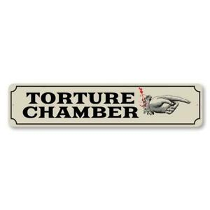 Torture Chamber, Hand Poniting Directional Sign, Halloween Horrifying Metal Sign