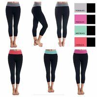 Women's Yoga Pants Spandex Cotton Sports Workout GYM Fitness Capri Leggings