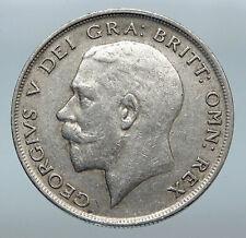 1921 Great Britain United Kingdom UK King GEORGE V Silver Half Crown Coin i85262
