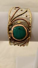 """Handcrafted Stainless Steel 61/2 """" Cuff Bracelet with Brass and Copper Details"""