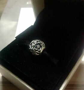 Pandora Charm Mystic Floral, Clear Cubic Zirconia & Black Enamel 791409CZ
