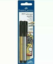 Faber-Castell - 2 Pitt Artist Pen Metallic, Gold And Silver Blister Pack