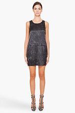 NWT Theory Shaima Dress Black Cracked Leather Print Silk $335 – 10