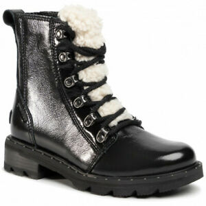 Sorel Lennox Lace Cozy Waterproof Boots Womens 9.5 Black Patent Leather NEW $200