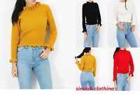 New Womens Ladies Knitted Round Neck Ruffle Frill Hem Jumper Long Sleeve Top8-14